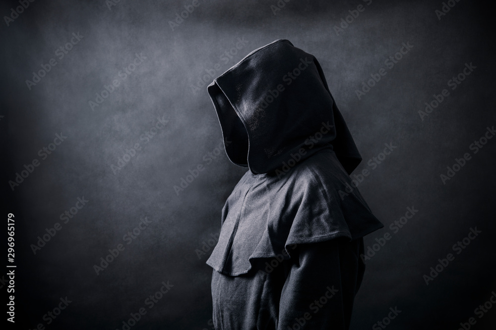 Fototapety, obrazy: Scary figure in hooded cloak