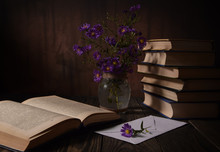 Books, Flowers, Letter On A Wo...