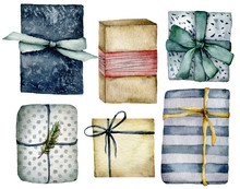 Watercolor Christmas Gift Boxes Set. Hand Painted Red, Beige, Blue, Striped And Polka Dot Boxes With Bow Isolated On White Background. Holiday Illustration For Design, Print, Fabric, Background.