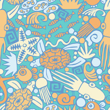 Ocean Life Seamless Repeat