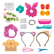 Womens Hair Clips And Elastic Bands Illustrations Set