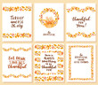 Set of thanksgiving card templates. Hand drawn lettering illustration.