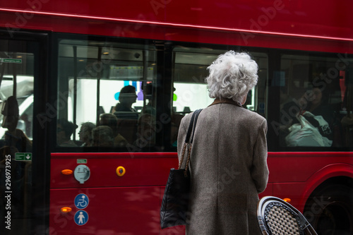 Door stickers London red bus White Hair