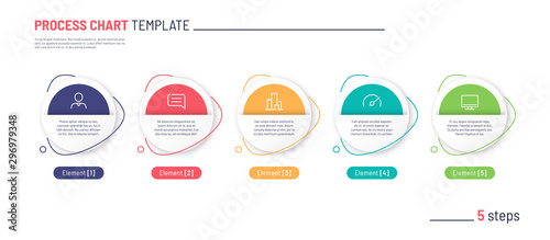 Obraz Vector infographic process chart template. Five steps - fototapety do salonu