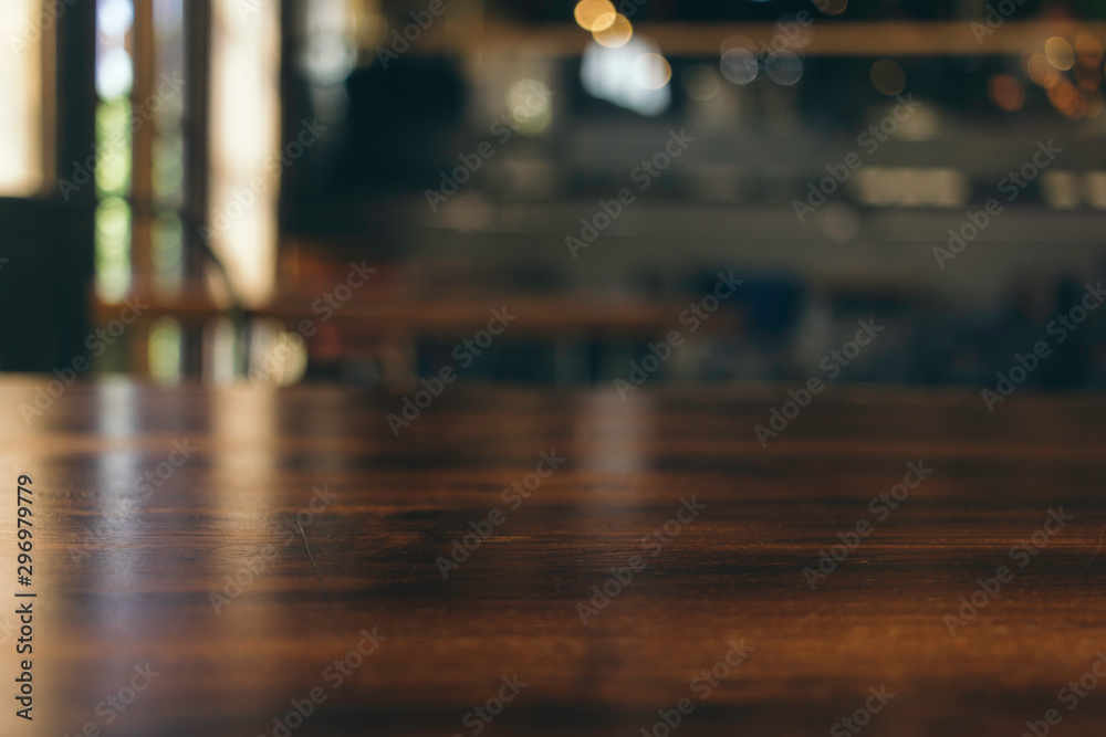 Fototapety, obrazy: wooden table in front of abstract blurred background