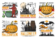 Halloween Icons Of Pumpkins, G...
