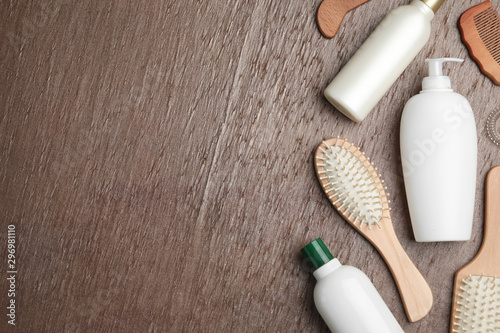 Recess Fitting Amsterdam Flat lay composition with hair cosmetic products and tools on brown background. Space for text