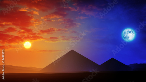 Stampa su Tela  majestic ancient pyramids in desert environment with day to night soft transitio