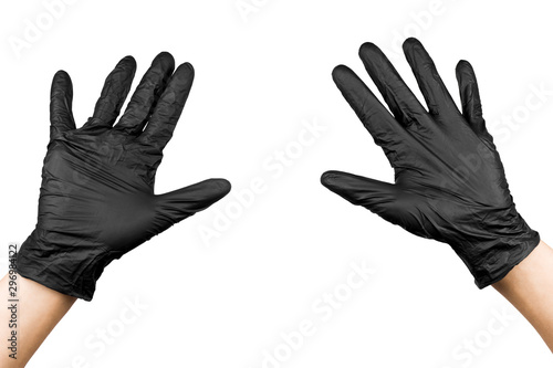 Fototapeta  male hands up in black latex gloves isolated on white background