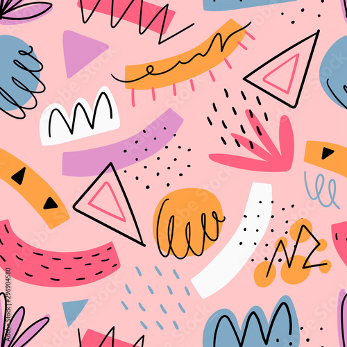 fototapeta na lodówkę Hand drawn abstract kids seamless pattern for print, textile, wallpaper. Modern hand drawn shapes background.