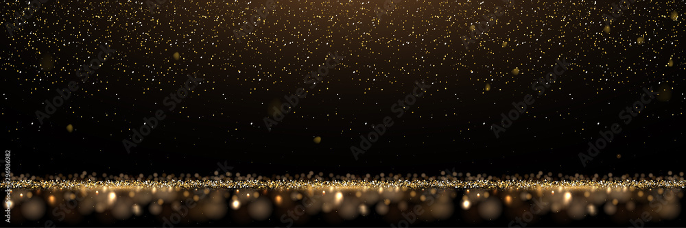 Fototapeta Gold glitter and shiny golden rain on black background. Vector horizontal luxury background.