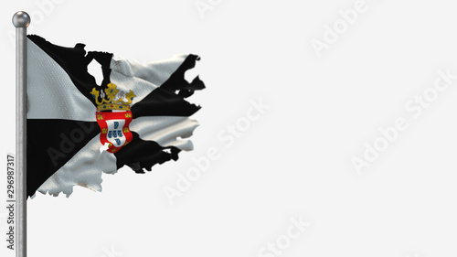Ceuta 3D tattered waving flag illustration on Flagpole. Isolated on white background with space on the right side.