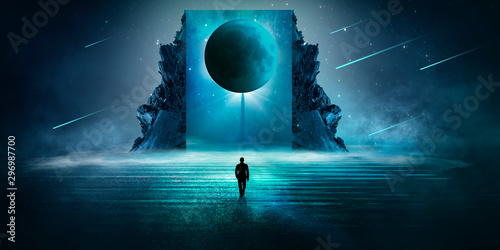 Montage in der Fensternische Blaue Nacht Futuristic night landscape with abstract landscape and island, moonlight, shine. Dark natural scene with reflection of light in the water, neon blue light. Dark neon triangle, pyramid, background.