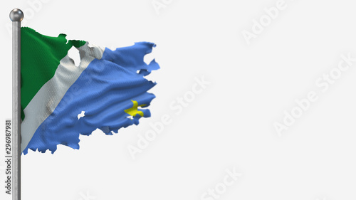 Photo  Mato Grosso Do Sul 3D tattered waving flag illustration on Flagpole