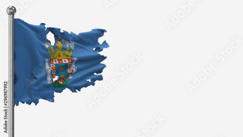 Melilla 3D tattered waving flag illustration on Flagpole. Isolated on white background with space on the right side.