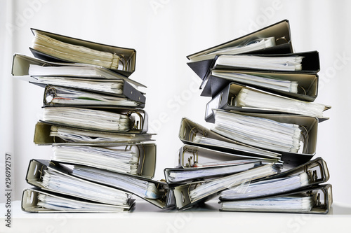 Cuadros en Lienzo stacks of many ring binder with files, folders and documents on an office desk,
