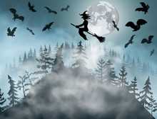 Halloween Background With Witc...