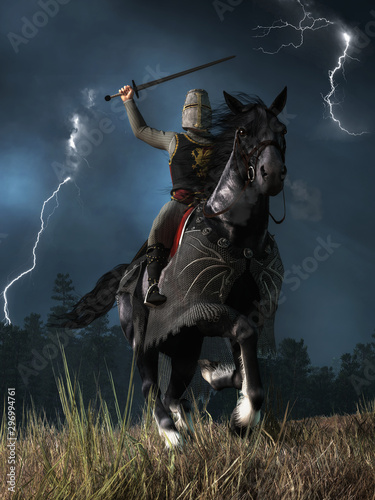A medieval knight wearing chain armor and a bucket helmet atop his black war horse charges at you sword held high as lightning streaks down in the sky Wallpaper Mural
