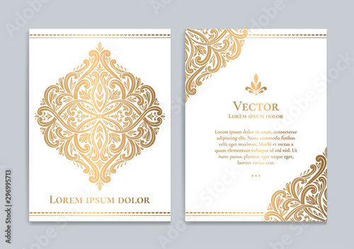Fototapeta White and gold luxury invitation card design. Vintage ornament template. Can be used for background and wallpaper. Elegant and classic vector elements great for decoration. obraz