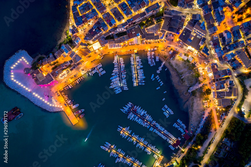 Tuinposter Oude gebouw aerial view from dron of the port and promenade of Castellammare del Golfo, Sicily