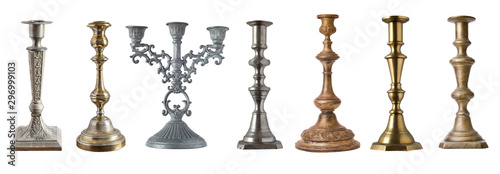 Fototapeta set of vintage different candelabrum, candle stand, candlestick isolated on whit