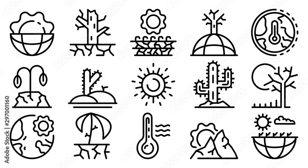 Fototapeta Drought icons set. Outline set of drought vector icons for web design isolated on white background