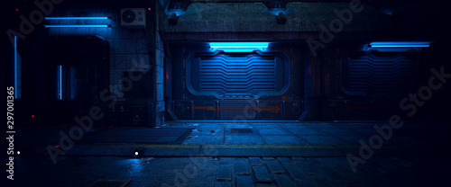 Wall of an old building with gates and neon lights on a street of futuristic city Canvas Print