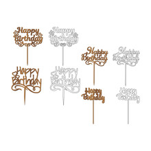 Set Of Sign 'Happy Birthday' Cake Toppers For Laser Or Milling Cut. Cut For Decoration Design. Happy Birthday Topper. Holiday Greeting. Elegant Decoration. Laser Cut. Isolated Design Element.