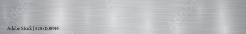 Fotografía  Abstract horizontal metal banner or background with glares in gray colors