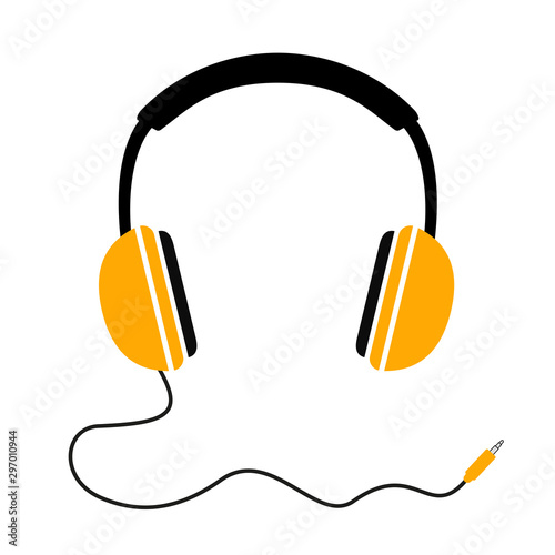 Headphones with wave cord plug, headphone icon, music sign – stock vector Obraz na płótnie