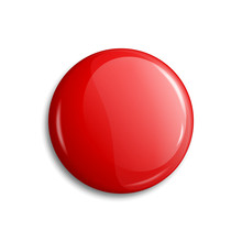 Red Glossy Blank Badge, Button...