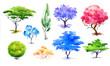 Leinwanddruck Bild - Confection decorative trees and bush.Poplar,jacaranda.Violet,blue,pink,orange and green tree.Hand drawn. Watercolor illustration