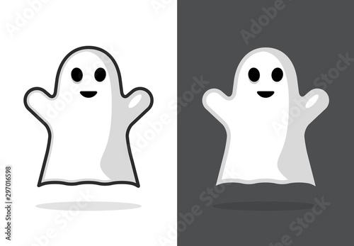 Cute ghost icon halloween boo vector illustration, funny ghost face Wallpaper Mural
