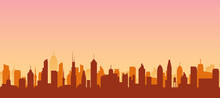Cityscape Silhouette Urban Illustration. City Skyline Building Town Skyscraper Horizon Background