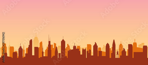 Fototapeta Cityscape silhouette urban illustration. City skyline building town skyscraper horizon background obraz