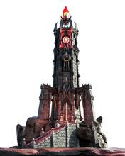 Fantasy Magic Dark Evil Tower, 3D Illustration, 3D Rendering
