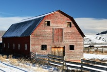 An Old Barn In The Snow Country
