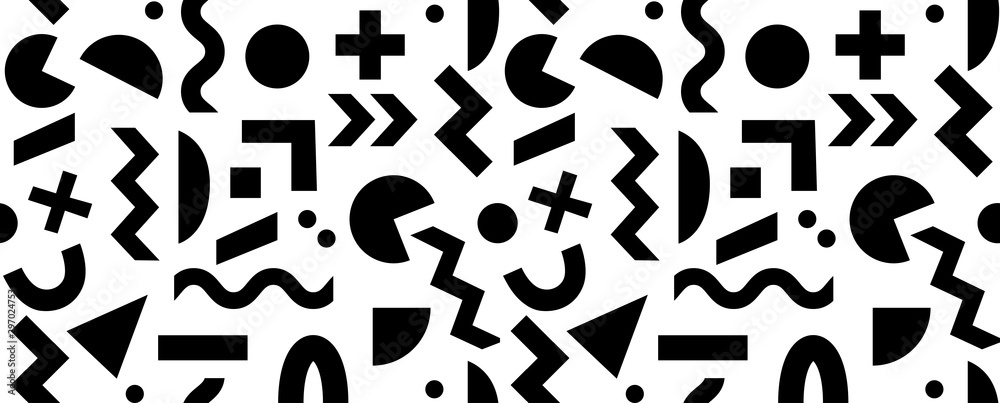 Fototapety, obrazy: Seamless black and white geometric pattern. Hipster Memphis style.