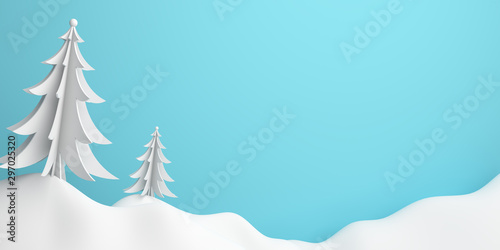 Winter abstract background, pine, spruce, fir tree art paper cut origami with blue pastel sky. 3D rendering illustration.