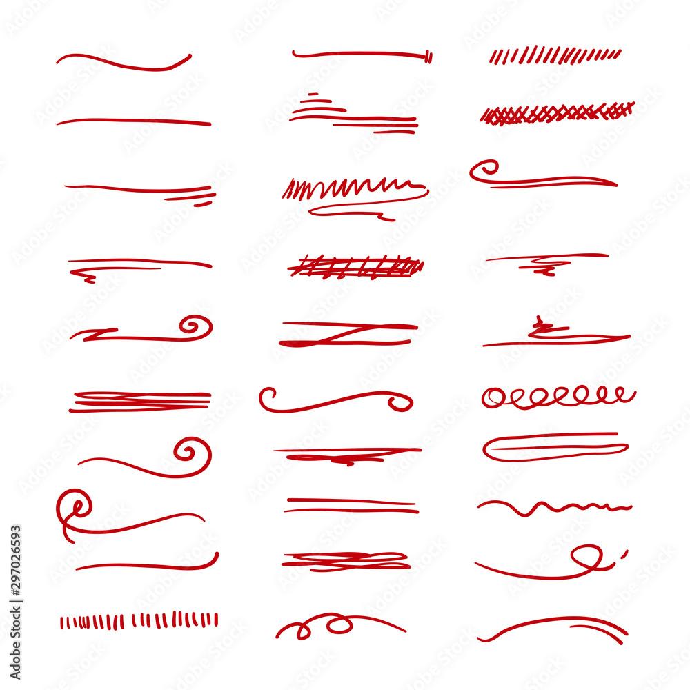 Fototapety, obrazy: doodle Sketch brush strokes, underline, emphasis, lines, waves set Design elements isolated on white background