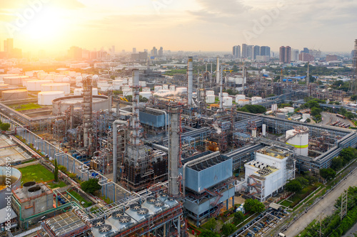 Aerial view of twilight of oil refinery ,Shot from drone of Oil refinery plant ,refinery Petrochemical plant at dusk , Bangkok, Thailand Wallpaper Mural