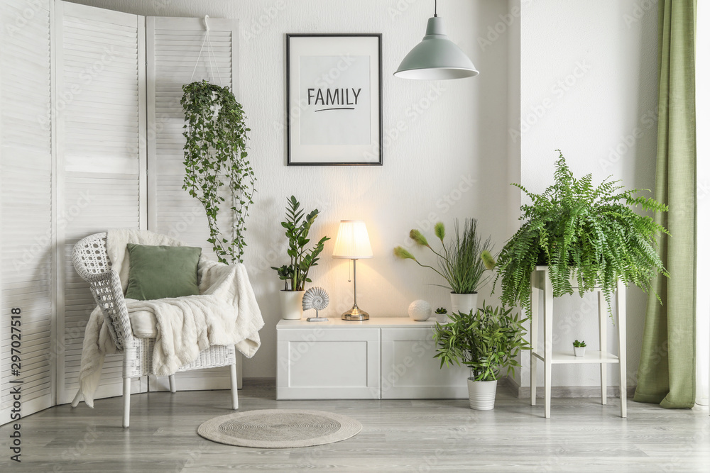 Fototapety, obrazy: Interior of modern room with green houseplants