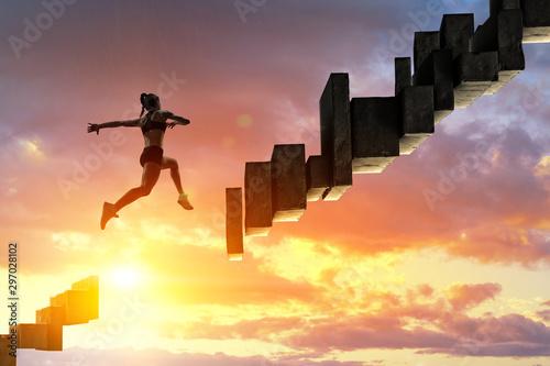 Obraz na plátně Jumping over precipice, challenge concept.