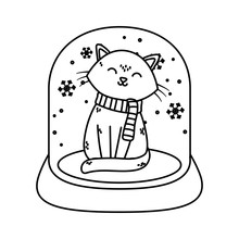 Cat In Crystal Ball Snow Celebration Merry Christmas Thick Line