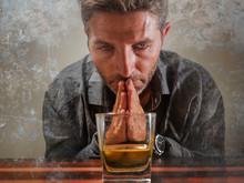 Desperate Alcoholic Man . Depr...