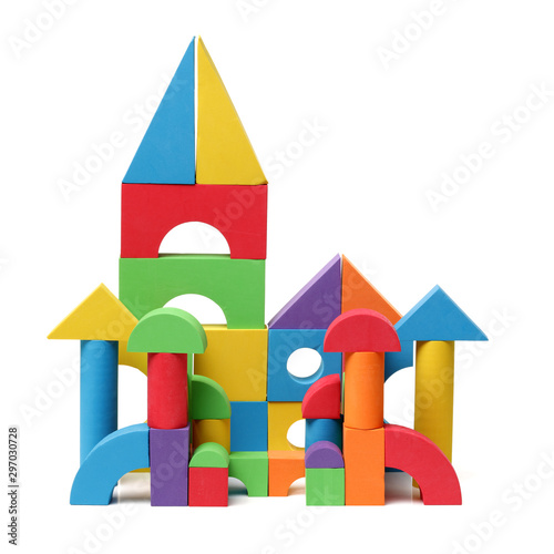 Obraz The toy castle from color blocks isolated on a white background  - fototapety do salonu