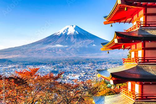 Fototapety, obrazy: Fuji Mountain and Chureito Pagoda in Autumn, Japan