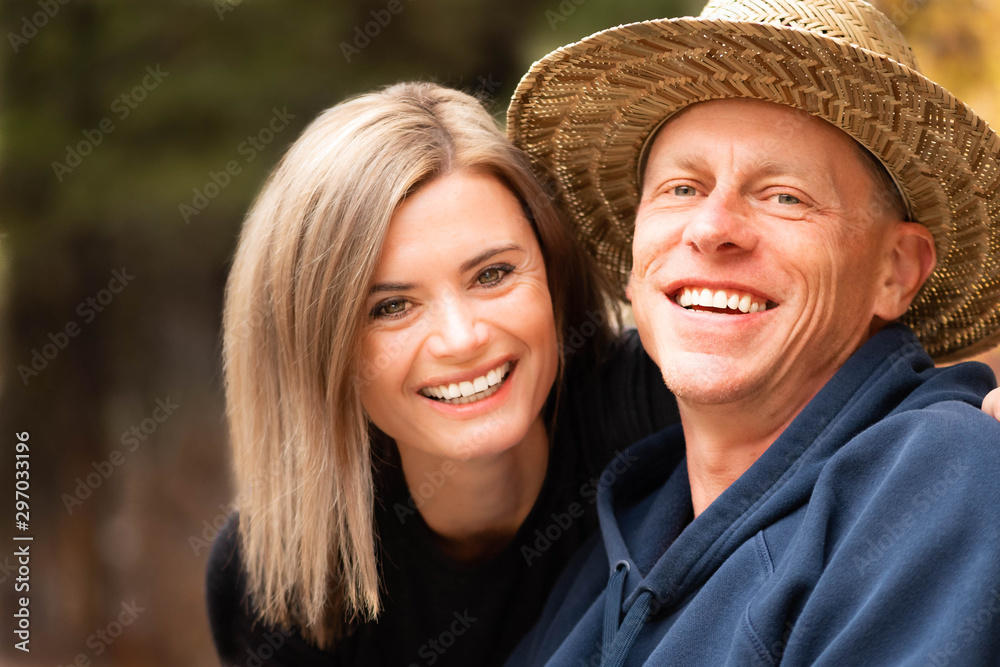 Fototapety, obrazy: Close up a happy middle age couple outdoors.