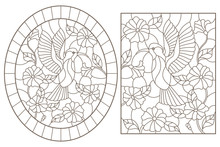 A Set Of Contour Illustrations Of Stained Glass Windows With Hummingbird Birdsand Flowers, Dark Contours On A White Background