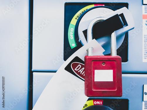 Cuadros en Lienzo Lockout-tagout, safety lockout of the electric power feeder breaker